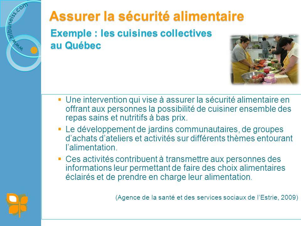 Exemple : les cuisines collectives au Québec Une intervention qui vise à assurer la sécurité alimentaire en offrant aux personnes la possibilité de cuisiner ensemble des repas sains et nutritifs à bas prix.