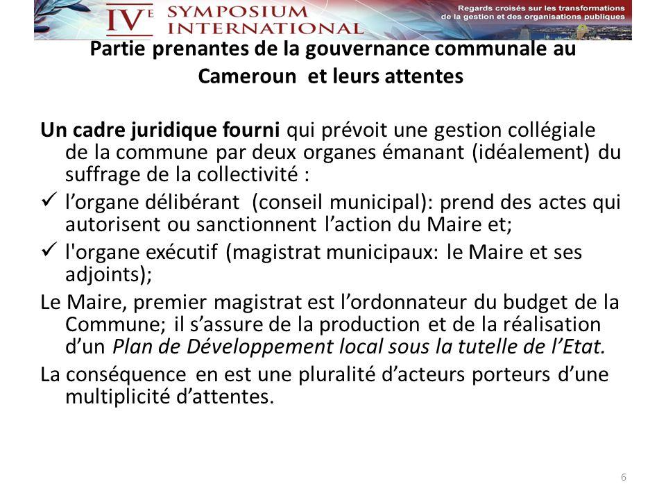 Parties prenantes de la gouvernance communale au Cameroun et leurs attentes 7 COLLECTIVITÉ / POPULATIONS ORGANE EXÉCUTIF ORGANE DÉLIBÉRANT Maire TUTELLETUTELLE