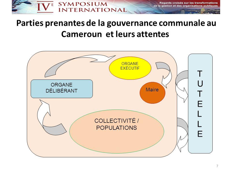 Parties prenantes de la gouvernance communale au Cameroun et leurs attentes 7 COLLECTIVITÉ / POPULATIONS ORGANE EXÉCUTIF ORGANE DÉLIBÉRANT Maire TUTEL