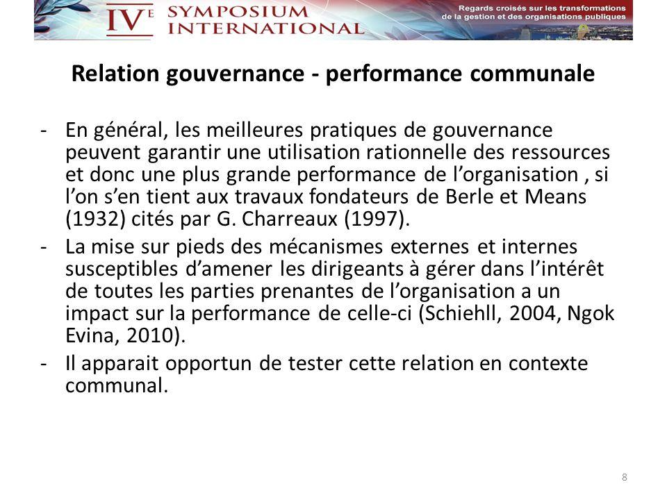 Relation gouvernance - performance communale -En général, les meilleures pratiques de gouvernance peuvent garantir une utilisation rationnelle des res