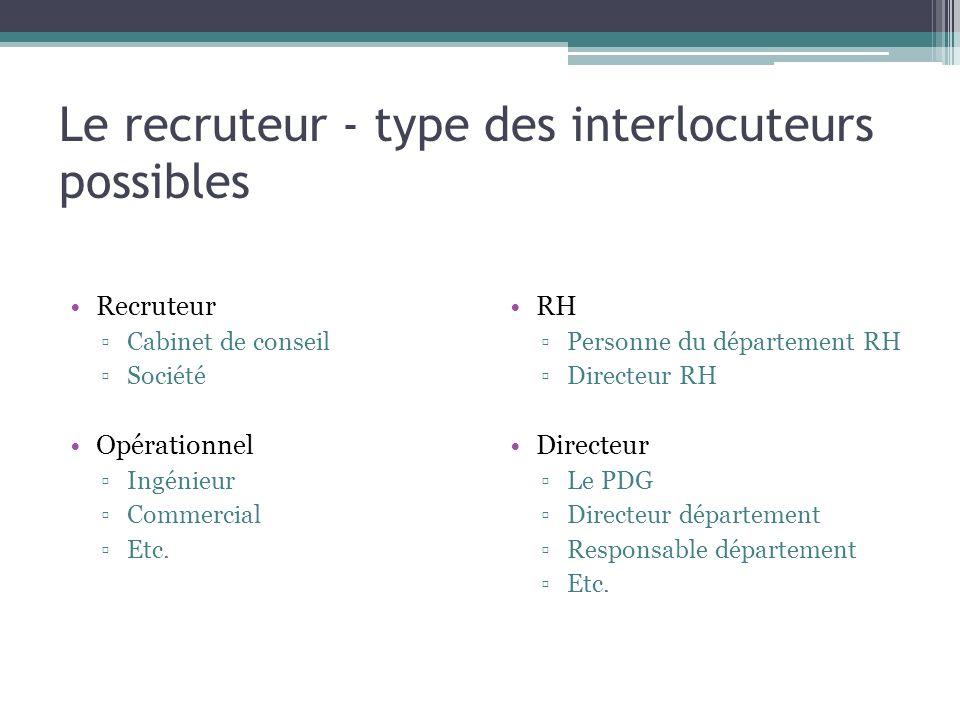 Le recruteur - type des interlocuteurs possibles Recruteur Cabinet de conseil Société Opérationnel Ingénieur Commercial Etc. RH Personne du départemen