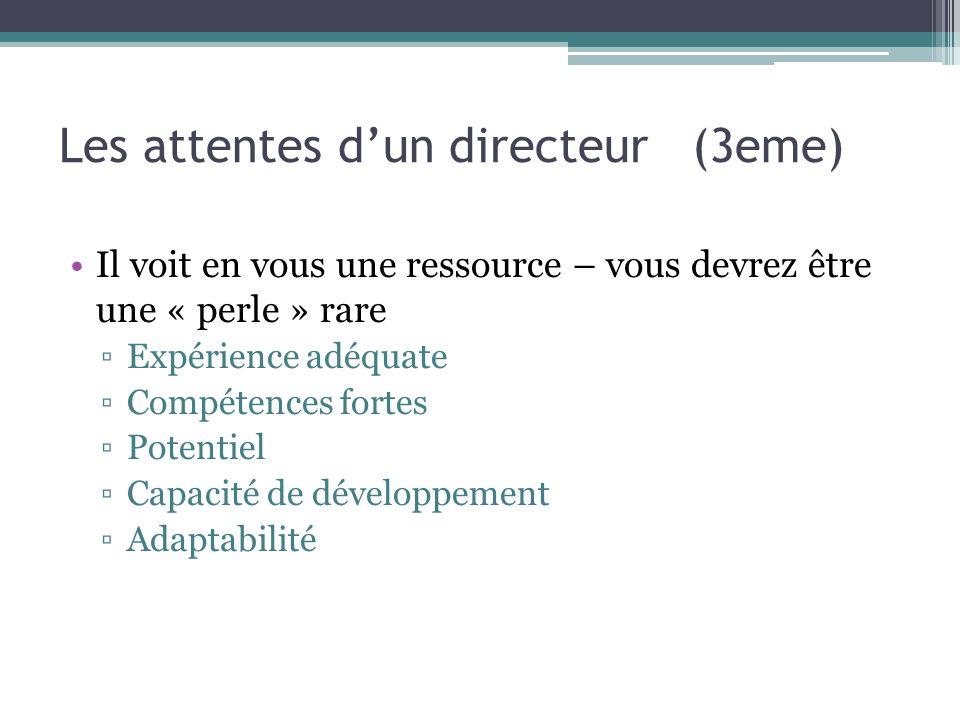 Les attentes dun directeur (3eme) Il voit en vous une ressource – vous devrez être une « perle » rare Expérience adéquate Compétences fortes Potentiel