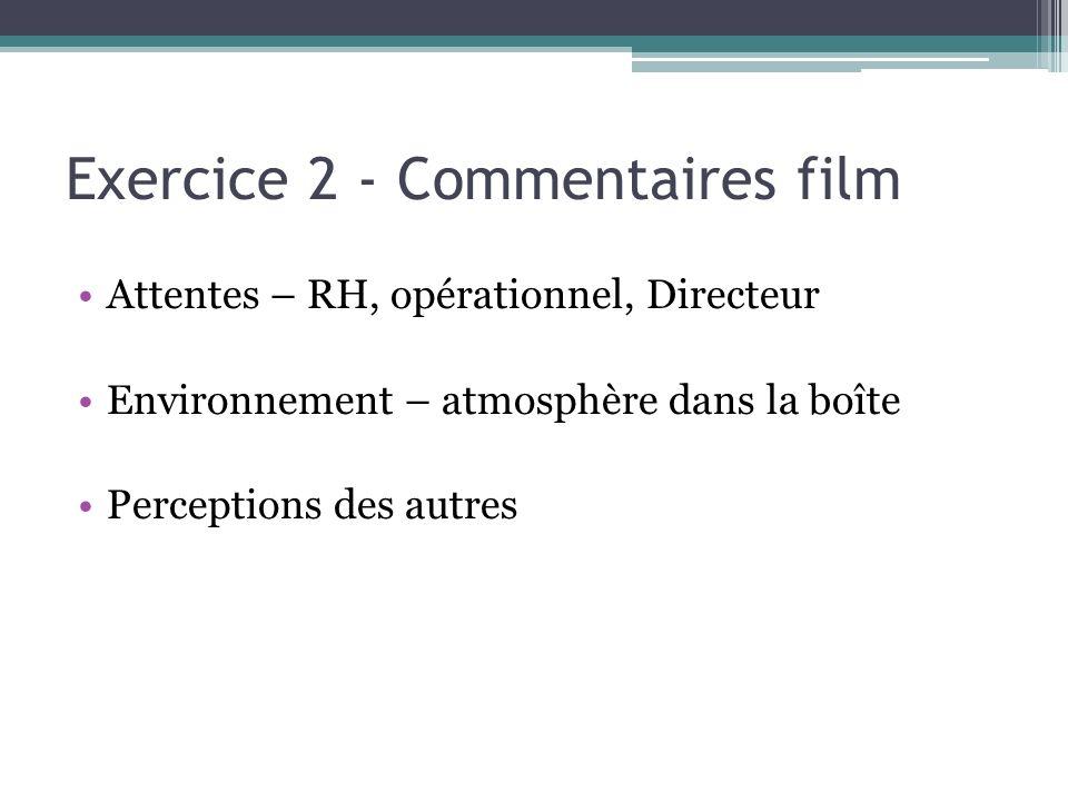 Exercice 2 - Commentaires film Attentes – RH, opérationnel, Directeur Environnement – atmosphère dans la boîte Perceptions des autres