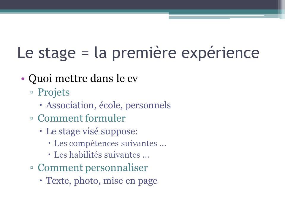 Le stage = la première expérience Quoi mettre dans le cv Projets Association, école, personnels Comment formuler Le stage visé suppose: Les compétence