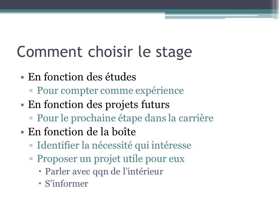 Comment choisir le stage En fonction des études Pour compter comme expérience En fonction des projets futurs Pour le prochaine étape dans la carrière