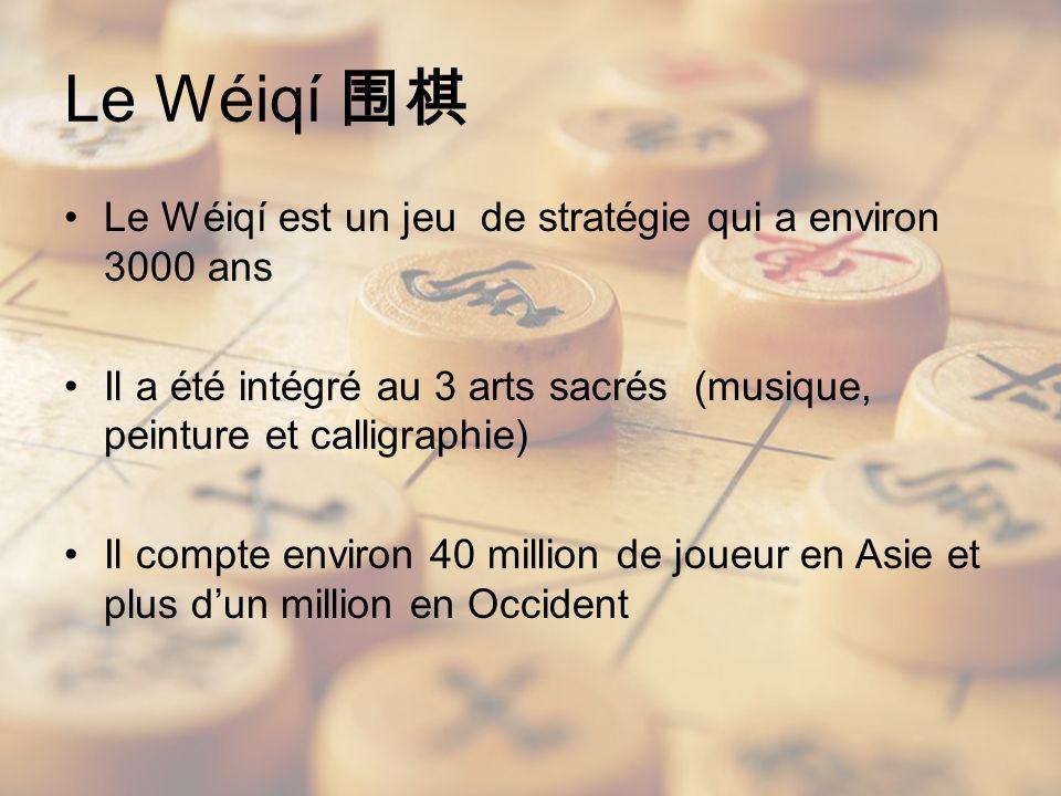 Le Wéiqí Le Wéiqí est un jeu de stratégie qui a environ 3000 ans Il a été intégré au 3 arts sacrés (musique, peinture et calligraphie) Il compte environ 40 million de joueur en Asie et plus dun million en Occident