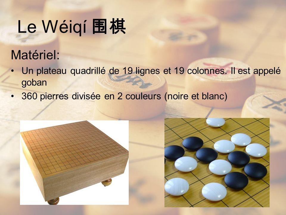 Matériel: Un plateau quadrillé de 19 lignes et 19 colonnes. Il est appelé goban 360 pierres divisée en 2 couleurs (noire et blanc) Le Wéiqí