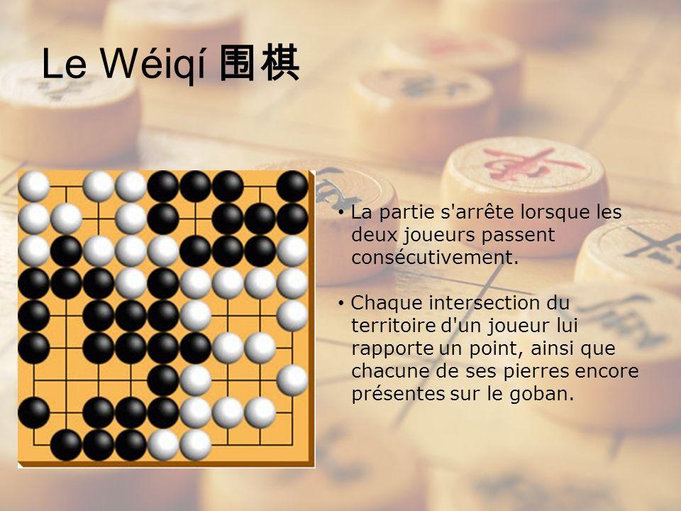 La partie s'arrête lorsque les deux joueurs passent consécutivement. Chaque intersection du territoire d'un joueur lui rapporte un point, ainsi que ch