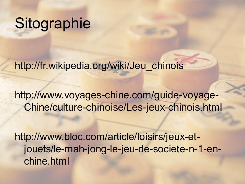 Sitographie http://fr.wikipedia.org/wiki/Jeu_chinois http://www.voyages-chine.com/guide-voyage- Chine/culture-chinoise/Les-jeux-chinois.html http://www.bloc.com/article/loisirs/jeux-et- jouets/le-mah-jong-le-jeu-de-societe-n-1-en- chine.html