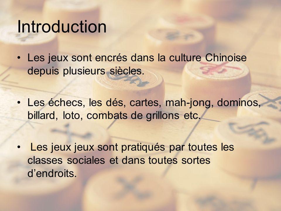 Introduction Les jeux sont encrés dans la culture Chinoise depuis plusieurs siècles. Les échecs, les dés, cartes, mah-jong, dominos, billard, loto, co