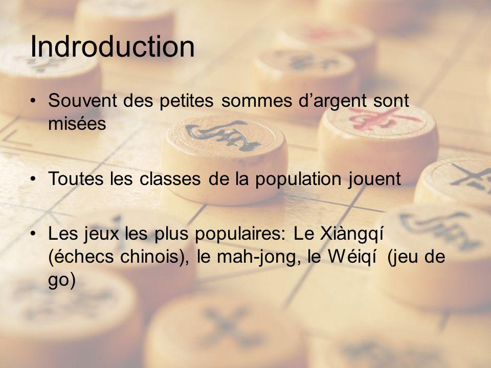 Indroduction Souvent des petites sommes dargent sont misées Toutes les classes de la population jouent Les jeux les plus populaires: Le Xiàngqí (échecs chinois), le mah-jong, le Wéiqí (jeu de go)