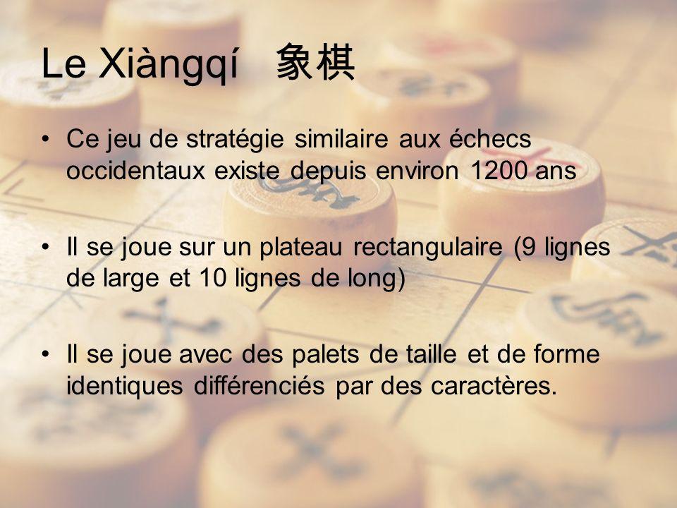 Le Xiàngqí Ce jeu de stratégie similaire aux échecs occidentaux existe depuis environ 1200 ans Il se joue sur un plateau rectangulaire (9 lignes de large et 10 lignes de long) Il se joue avec des palets de taille et de forme identiques différenciés par des caractères.