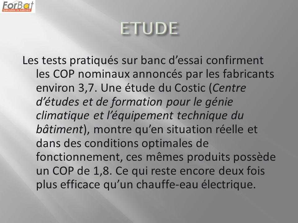 Les tests pratiqués sur banc dessai confirment les COP nominaux annoncés par les fabricants environ 3,7.