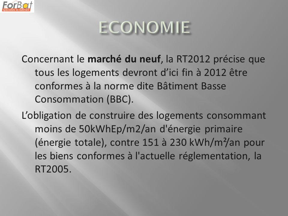Concernant le marché du neuf, la RT2012 précise que tous les logements devront dici fin à 2012 être conformes à la norme dite Bâtiment Basse Consommation (BBC).