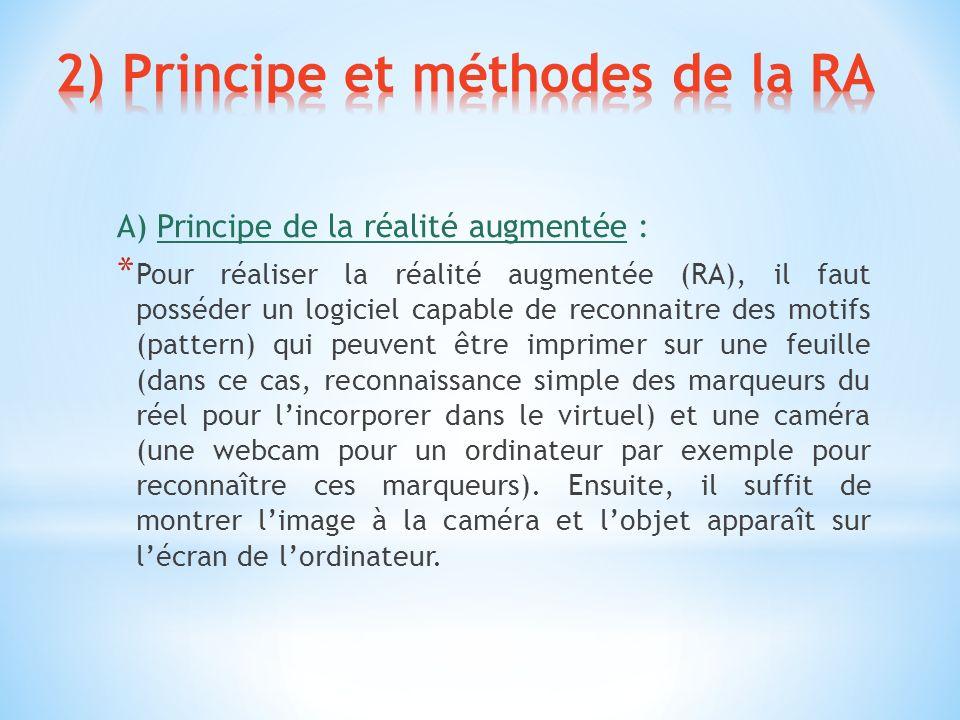 A) Principe de la réalité augmentée : * Pour réaliser la réalité augmentée (RA), il faut posséder un logiciel capable de reconnaitre des motifs (patte