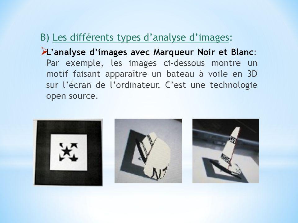 B) Les différents types danalyse dimages: Lanalyse dimages avec Marqueur Noir et Blanc: Par exemple, les images ci-dessous montre un motif faisant app