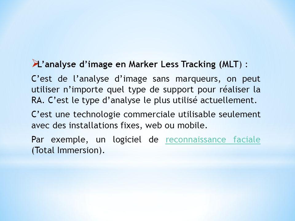 Lanalyse dimage en Marker Less Tracking (MLT) : Cest de lanalyse dimage sans marqueurs, on peut utiliser nimporte quel type de support pour réaliser l