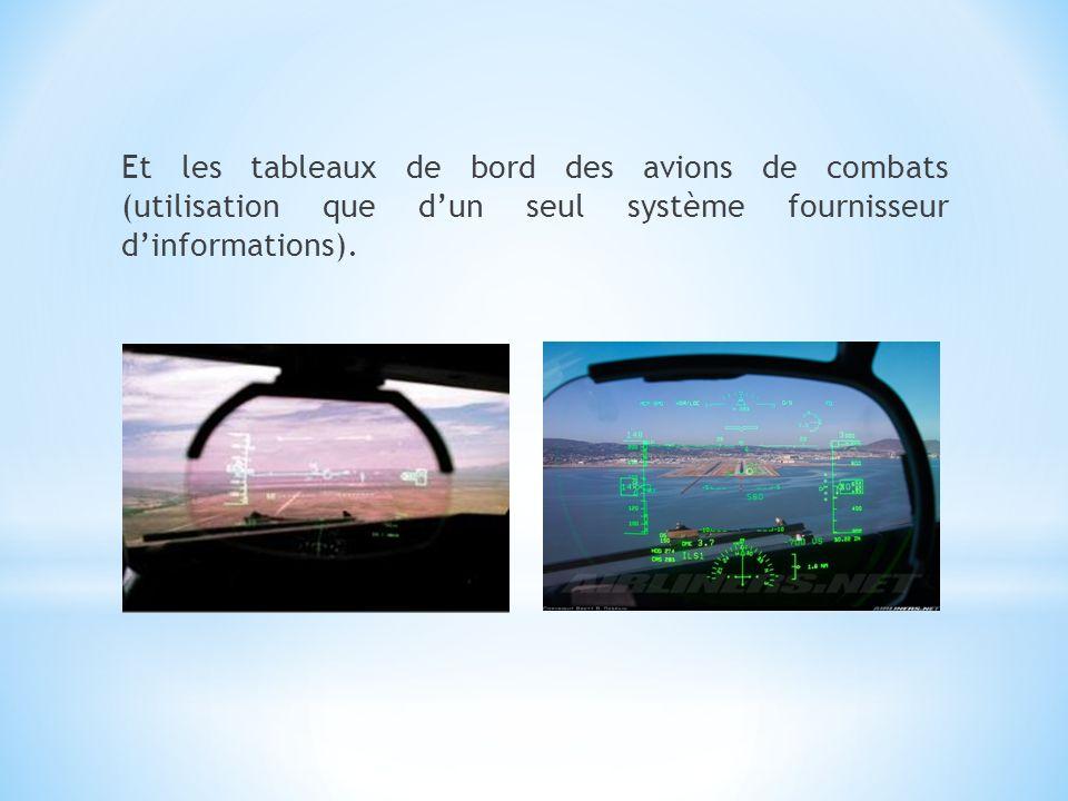Et les tableaux de bord des avions de combats (utilisation que dun seul système fournisseur dinformations).