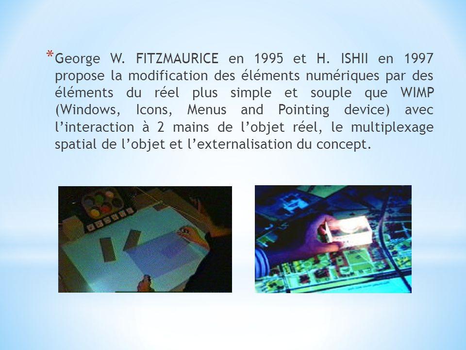 * Jun REKIMOTO en 1995 utilise le principe de modification des éléments numériques avec le réel mais avec seulement un périphérique le NaviCam (une caméra relié à lordinateur qui transmet les informations du réel au virtuel).
