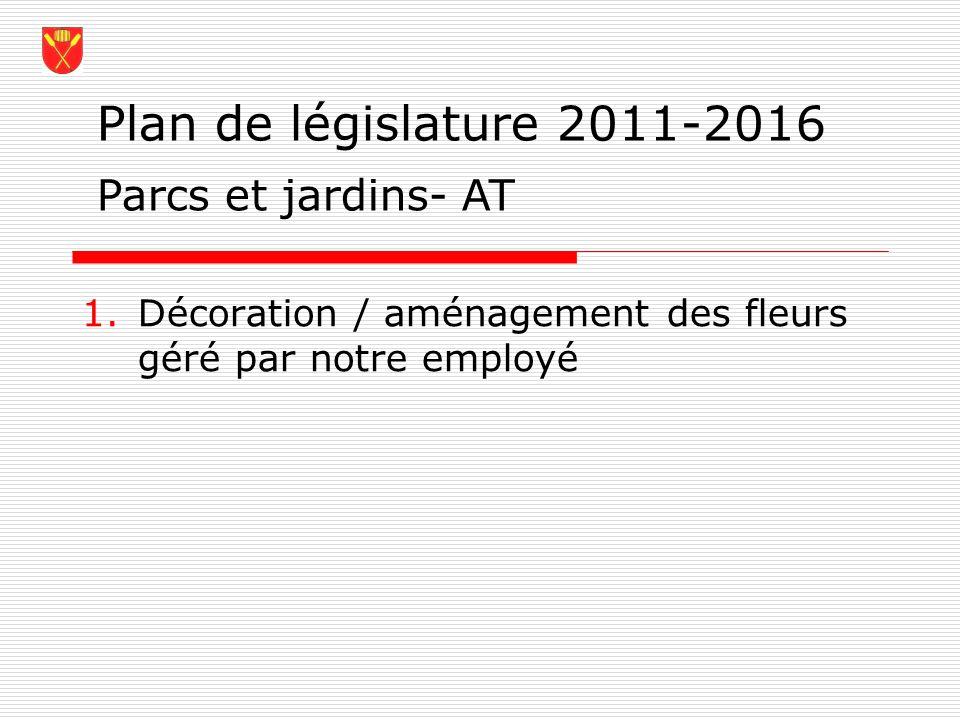 Plan de législature 2011-2016 1.Décoration / aménagement des fleurs géré par notre employé Parcs et jardins- AT