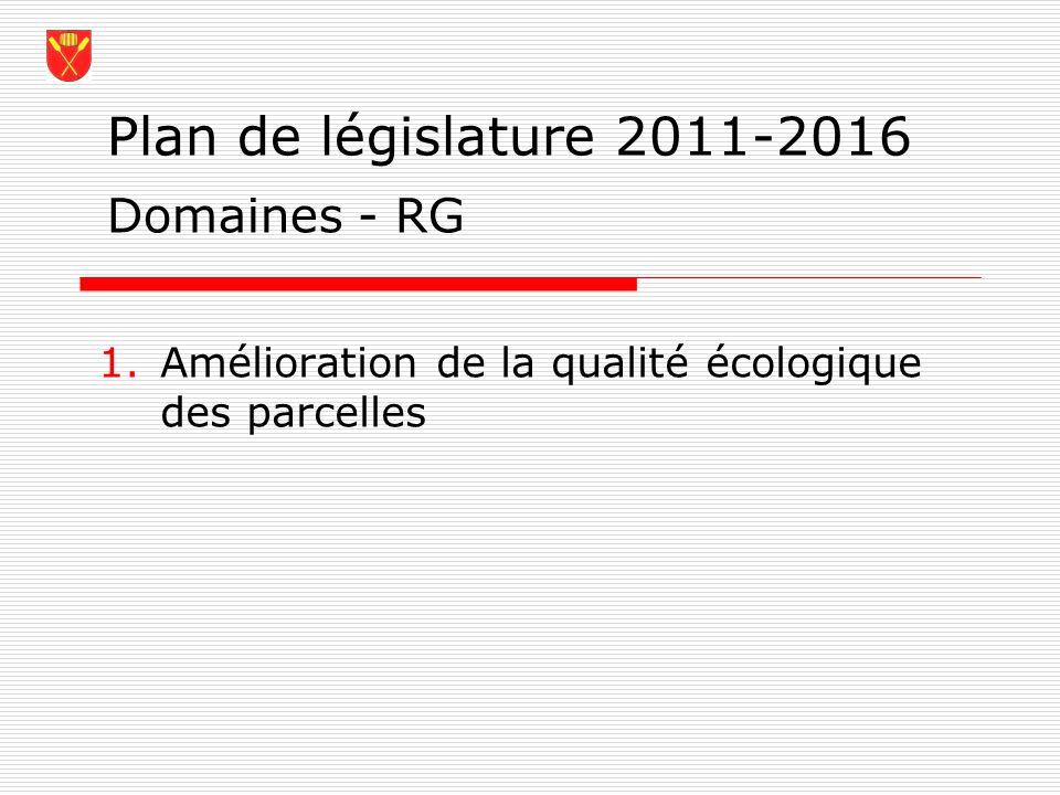 Plan de législature 2011-2016 1.Amélioration de la qualité écologique des parcelles Domaines - RG