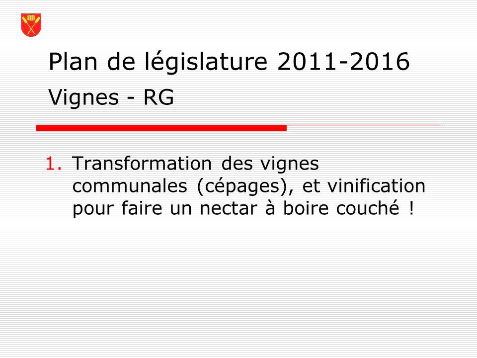 Plan de législature 2011-2016 1.Transformation des vignes communales (cépages), et vinification pour faire un nectar à boire couché ! Vignes - RG