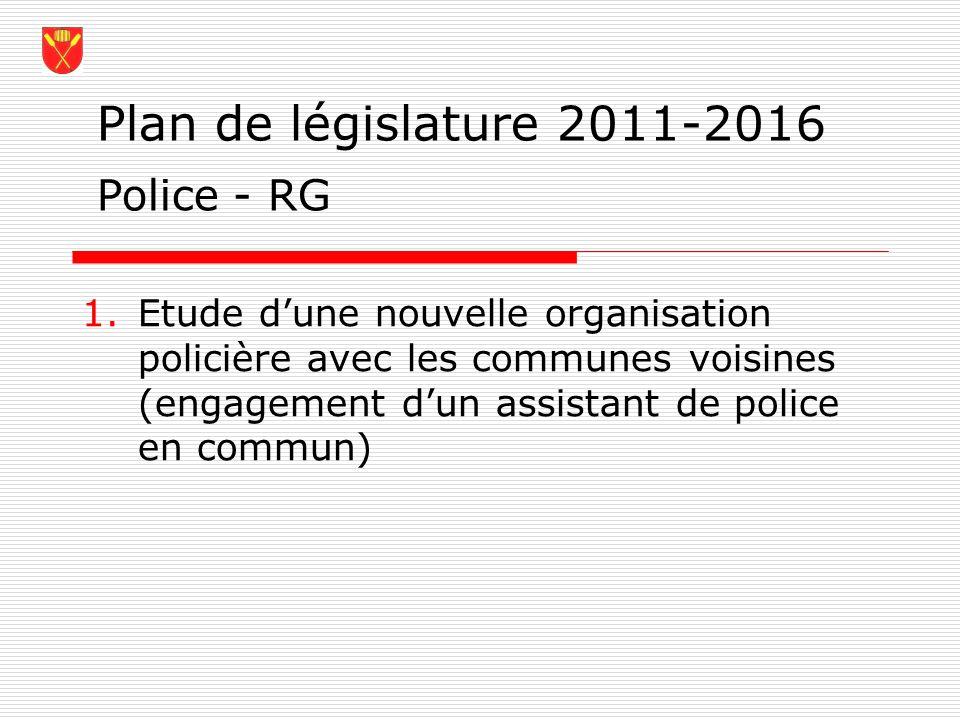 Plan de législature 2011-2016 1.Etude dune nouvelle organisation policière avec les communes voisines (engagement dun assistant de police en commun) P