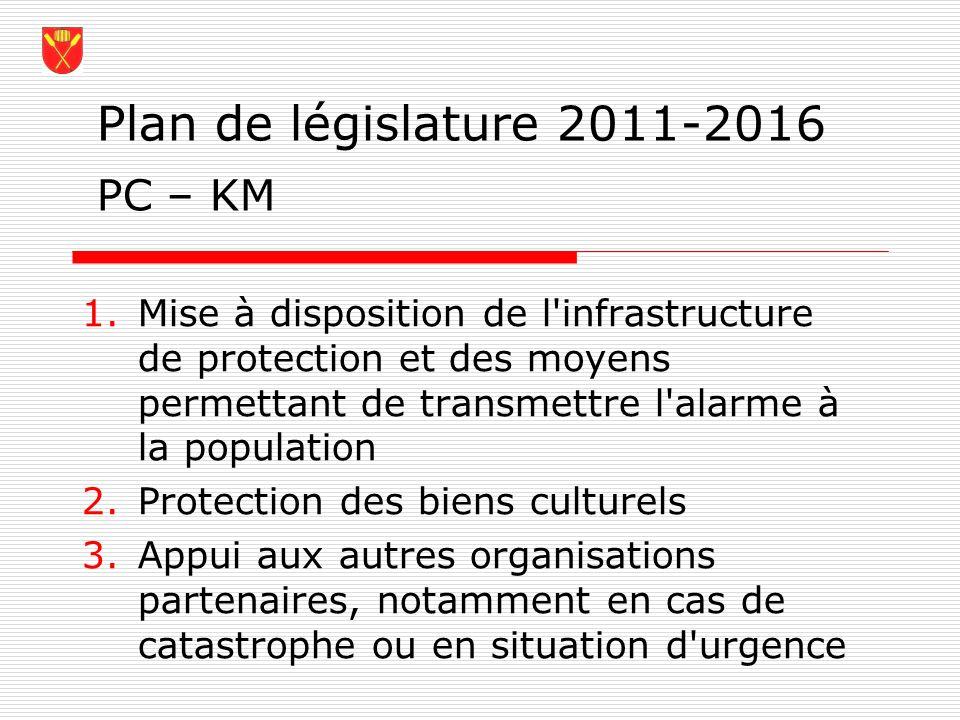 Plan de législature 2011-2016 1.Mise à disposition de l'infrastructure de protection et des moyens permettant de transmettre l'alarme à la population