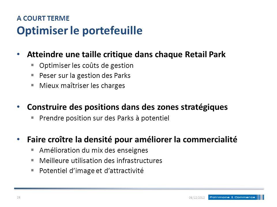 A COURT TERME Optimiser le portefeuille Atteindre une taille critique dans chaque Retail Park Optimiser les coûts de gestion Peser sur la gestion des