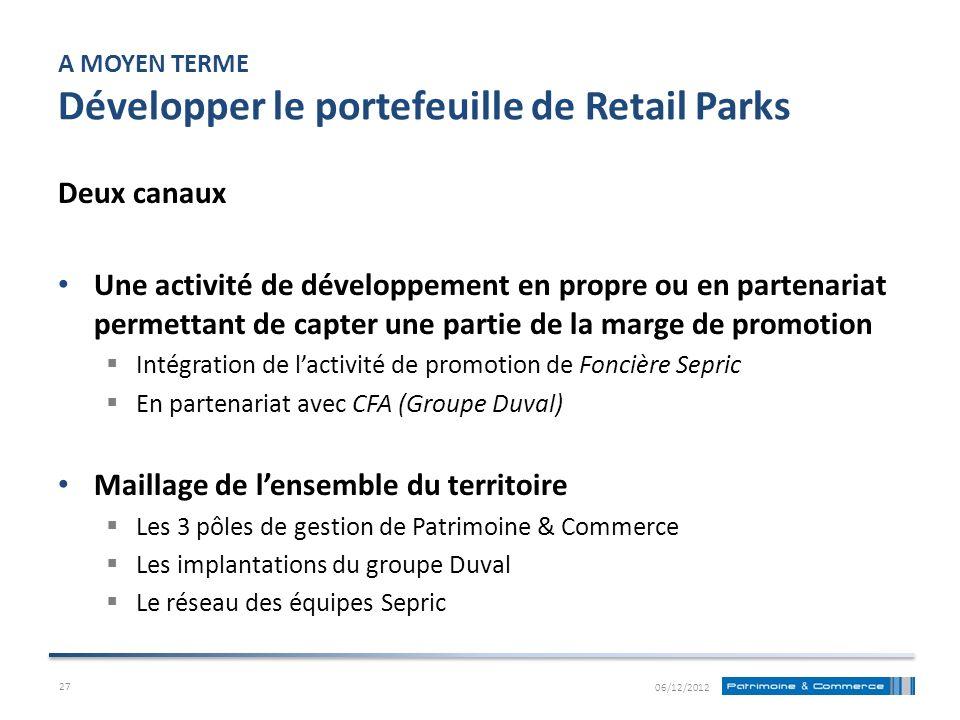 A MOYEN TERME Développer le portefeuille de Retail Parks Deux canaux Une activité de développement en propre ou en partenariat permettant de capter un