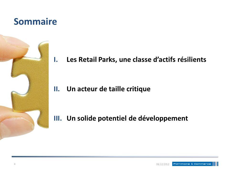 Sommaire I.Les Retail Parks, une classe dactifs résilients II.Un acteur de taille critique III.Un solide potentiel de développement 06/12/2012 4