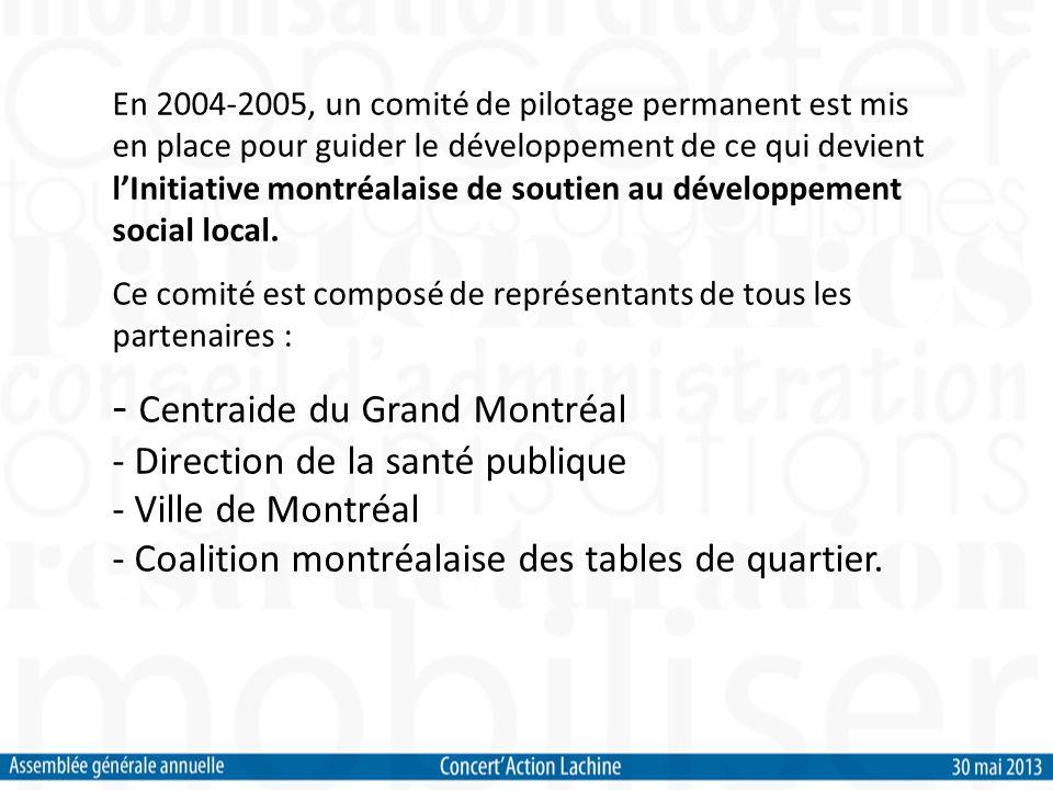 En 2004-2005, un comité de pilotage permanent est mis en place pour guider le développement de ce qui devient lInitiative montréalaise de soutien au développement social local.