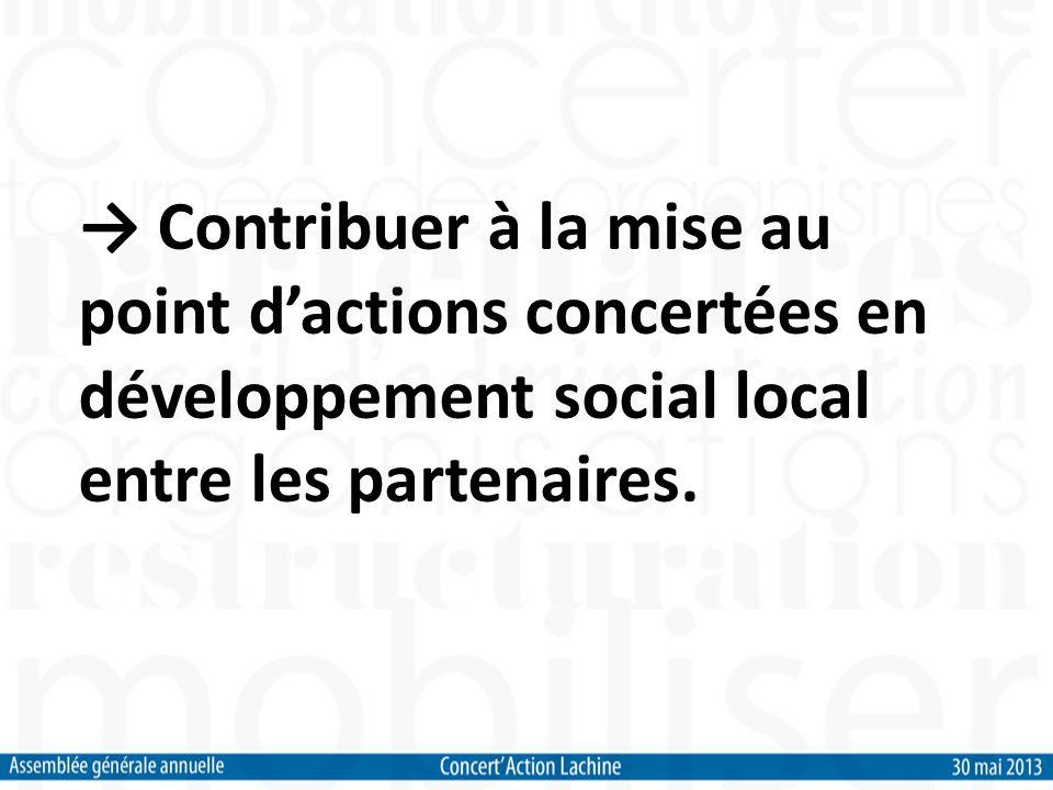 Contribuer à la mise au point dactions concertées en développement social local entre les partenaires.