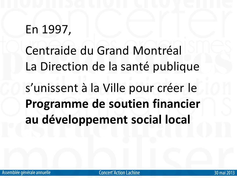 En 1997, Centraide du Grand Montréal La Direction de la santé publique sunissent à la Ville pour créer le Programme de soutien financier au développement social local