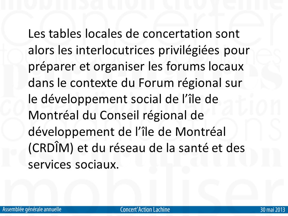 En 2000, la Direction de la santé publique lance un programme de soutien au développement social destiné aux anciennes villes de banlieue de lîle de Montréal.