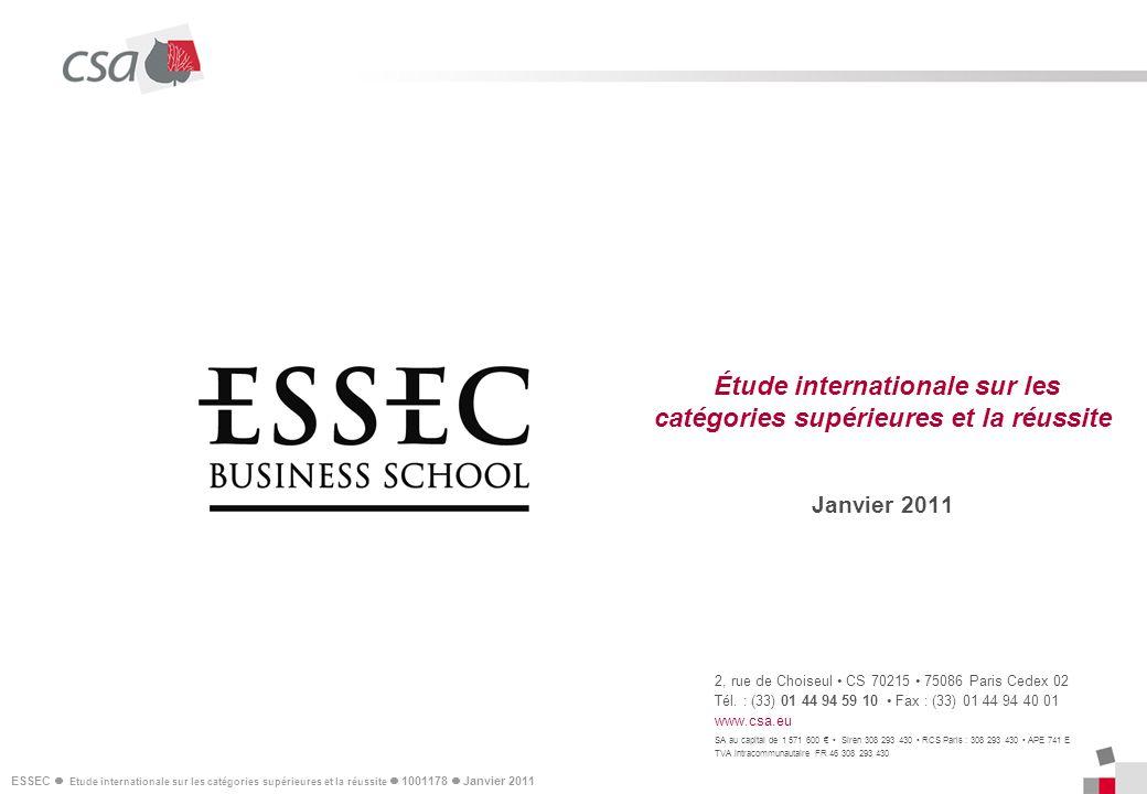 ESSEC Etude internationale sur les catégories supérieures et la réussite 1001178 Janvier 2011 12 II – Les arbitrages personnels sur la réussite