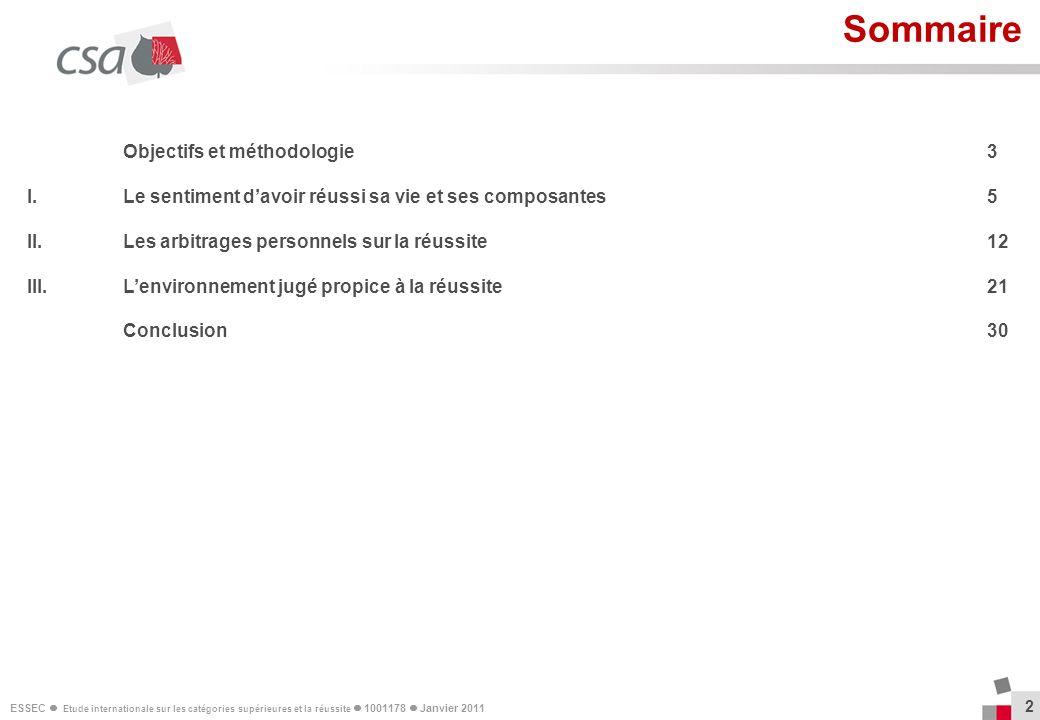 ESSEC Etude internationale sur les catégories supérieures et la réussite 1001178 Janvier 2011 2 Sommaire Objectifs et méthodologie3 I. Le sentiment da