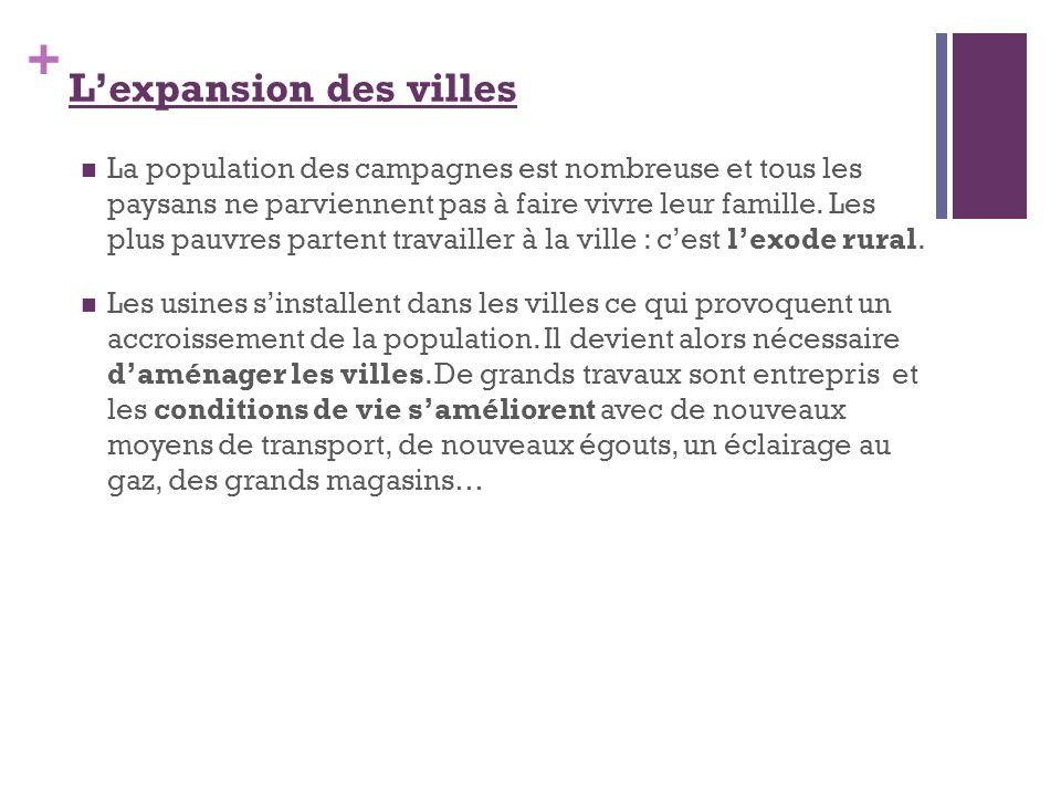 + Lexpansion des villes La population des campagnes est nombreuse et tous les paysans ne parviennent pas à faire vivre leur famille. Les plus pauvres