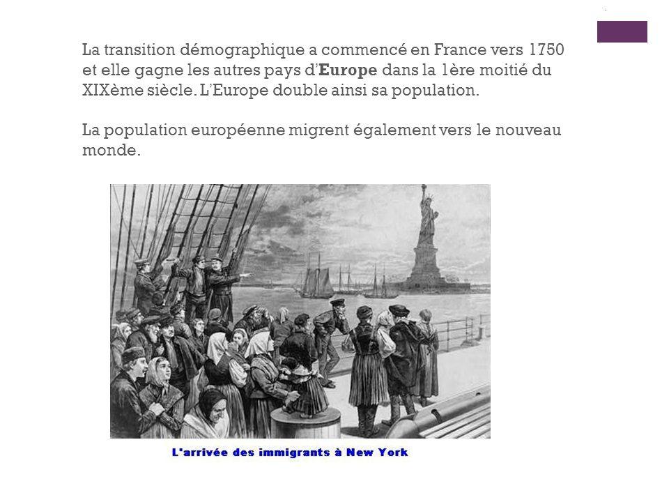 La transition démographique a commencé en France vers 1750 et elle gagne les autres pays dEurope dans la 1ère moitié du XIXème siècle. LEurope double