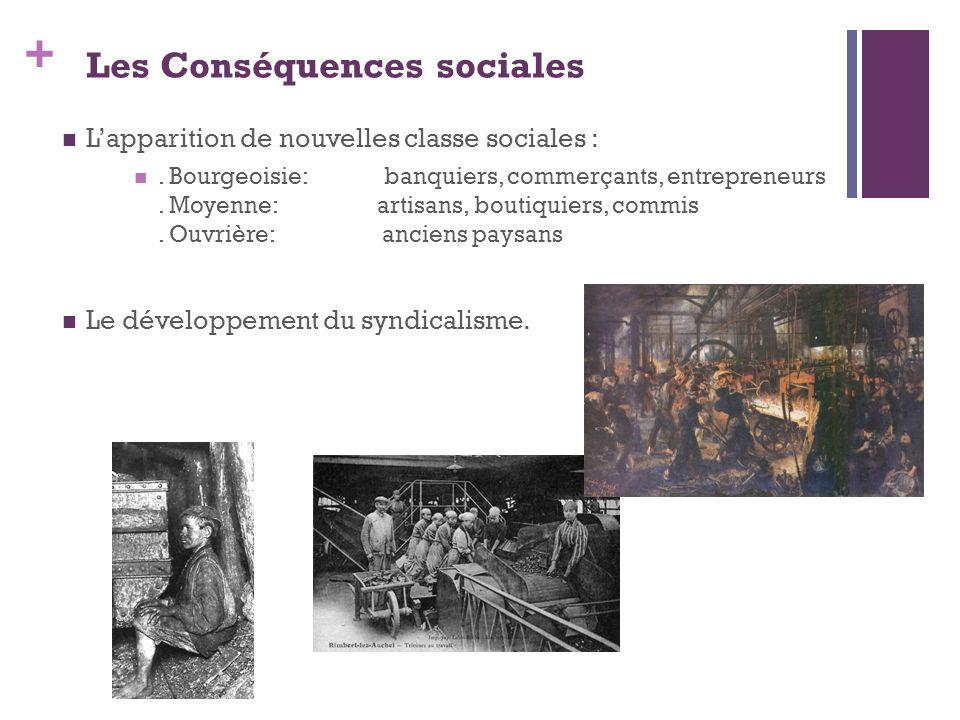 + Les Conséquences sociales Lapparition de nouvelles classe sociales :. Bourgeoisie: banquiers, commerçants, entrepreneurs. Moyenne: artisans, boutiqu