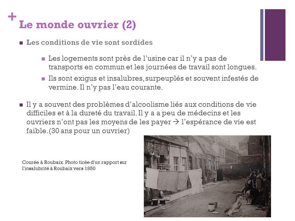+ Le monde ouvrier (2) Les conditions de vie sont sordides Les logements sont près de lusine car il ny a pas de transports en commun et les journées d