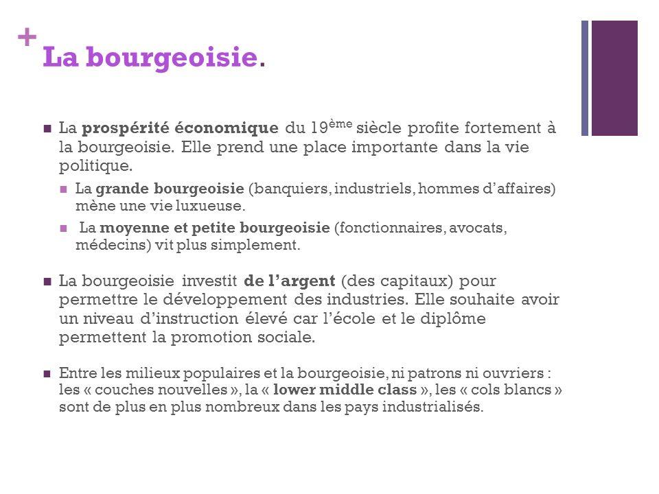 + La bourgeoisie. La prospérité économique du 19 ème siècle profite fortement à la bourgeoisie. Elle prend une place importante dans la vie politique.