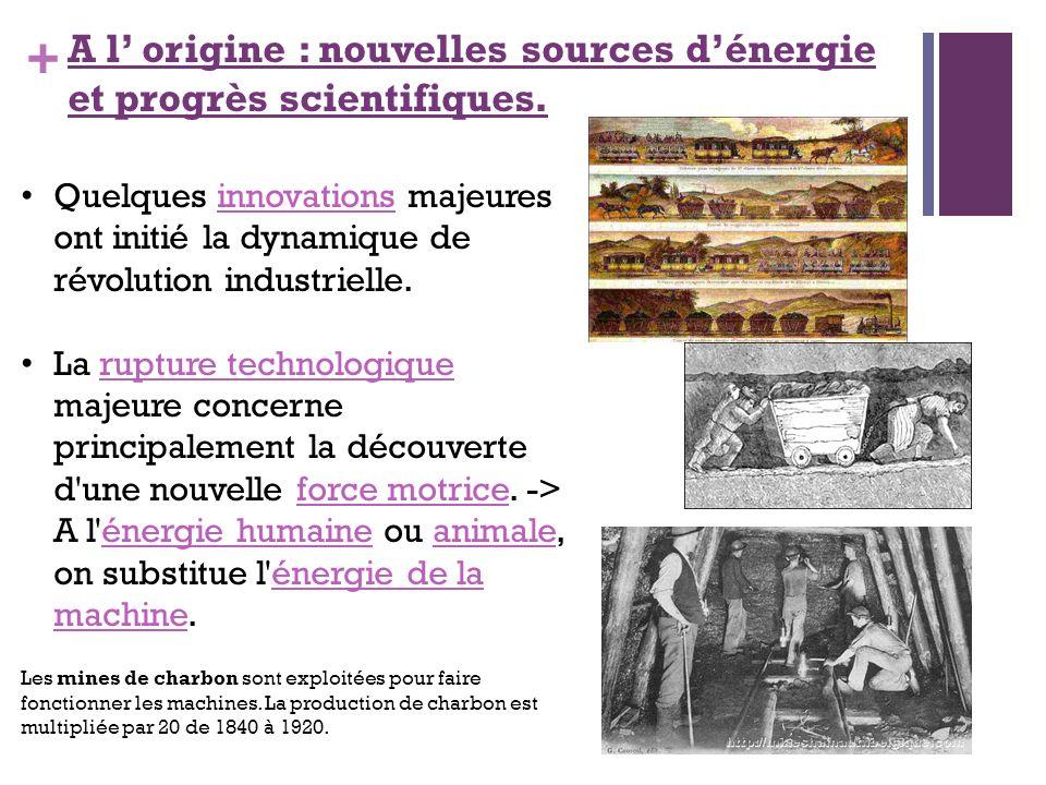 + A l origine : nouvelles sources dénergie et progrès scientifiques. Quelques innovations majeures ont initié la dynamique de révolution industrielle.