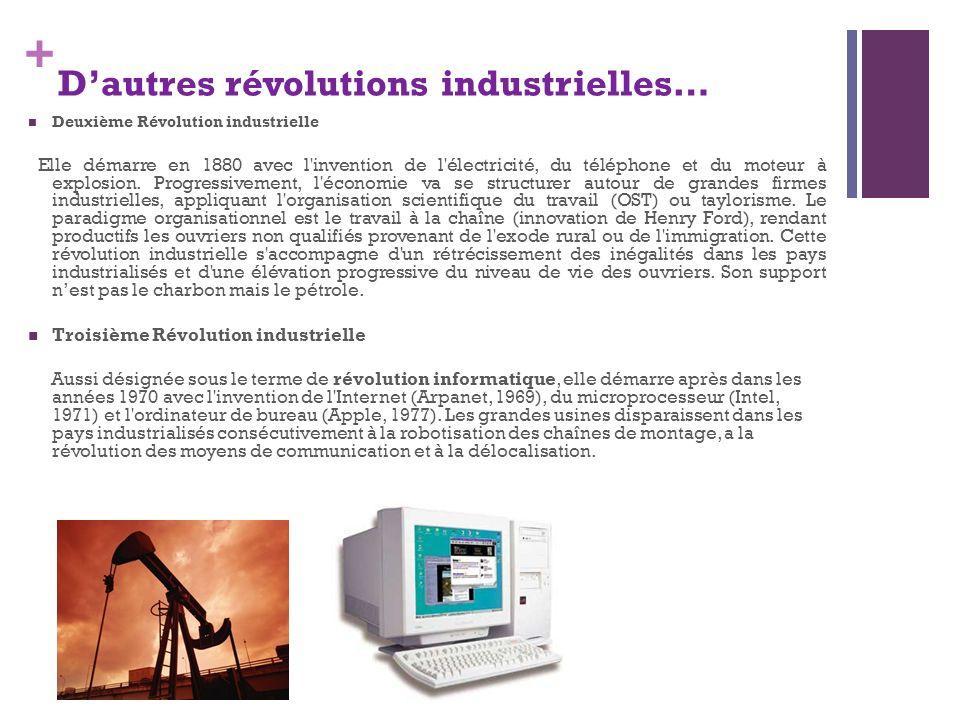 + Deuxième Révolution industrielle Elle démarre en 1880 avec l'invention de l'électricité, du téléphone et du moteur à explosion. Progressivement, l'é