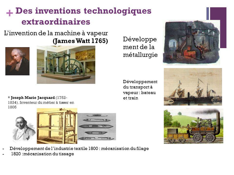 + Des inventions technologiques extraordinaires Linvention de la machine à vapeur (James Watt 1765) Développe ment de la métallurgie Développement du
