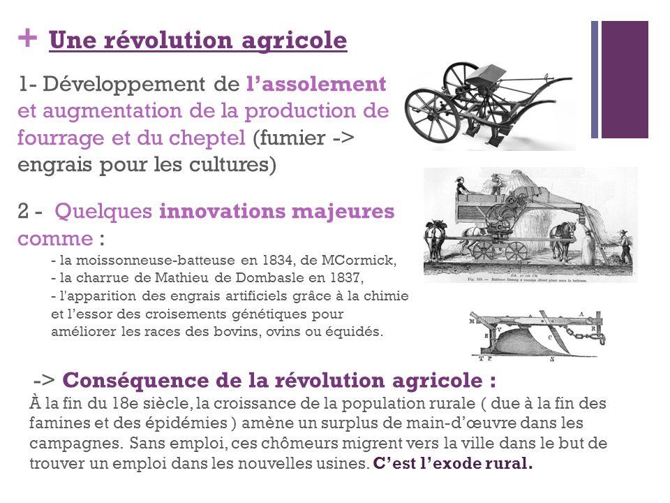 + Une révolution agricole 1- Développement de lassolement et augmentation de la production de fourrage et du cheptel (fumier -> engrais pour les cultu