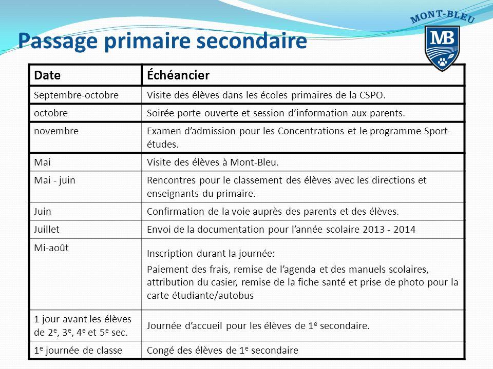 Passage primaire secondaire DateÉchéancier Septembre-octobre Visite des élèves dans les écoles primaires de la CSPO. octobre Soirée porte ouverte et s