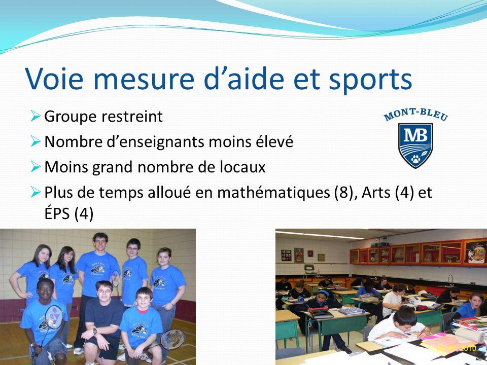 Voie mesure daide et sports Groupe restreint Nombre denseignants moins élevé Moins grand nombre de locaux Plus de temps alloué en mathématiques (8), Arts (4) et ÉPS (4)