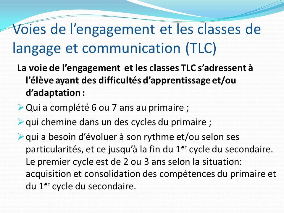 Voies de lengagement et les classes de langage et communication (TLC) La voie de lengagement et les classes TLC sadressent à lélève ayant des difficul