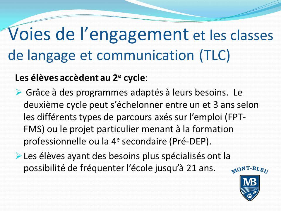 Voies de lengagement et les classes de langage et communication (TLC) Les élèves accèdent au 2 e cycle: Grâce à des programmes adaptés à leurs besoins.